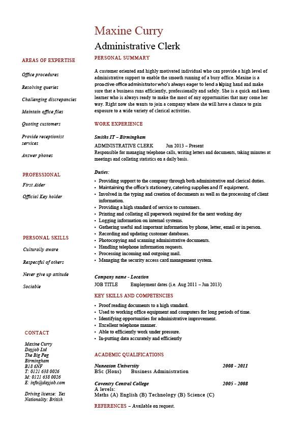administrative clerk resume clerical sample template job description duties expertise Resume Clerical Resume Samples