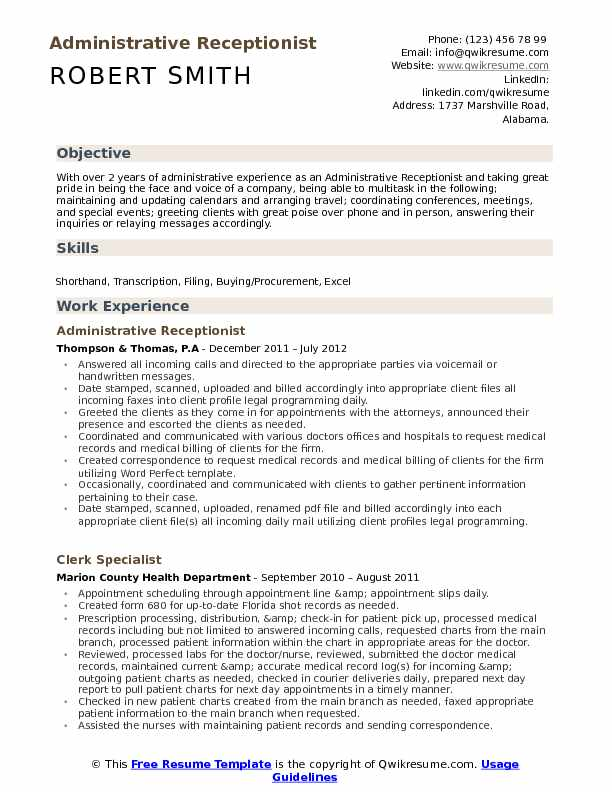 administrative receptionist resume samples qwikresume pdf leadership description for with Resume Administrative Receptionist Resume