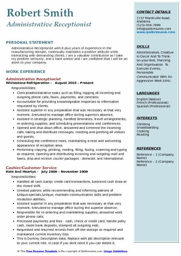 administrative receptionist resume samples qwikresume pdf leadership description for Resume Administrative Receptionist Resume