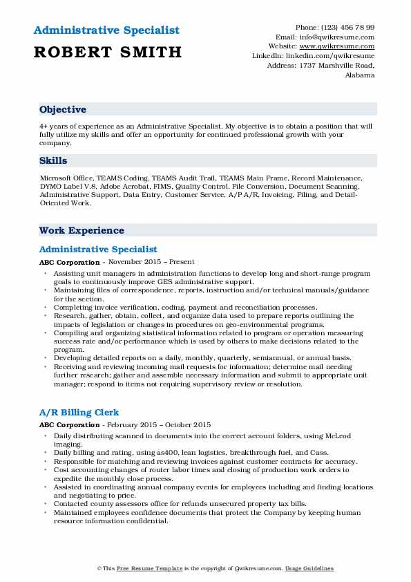 administrative specialist resume samples qwikresume sample pdf ceo template pediatrician Resume Administrative Specialist Resume Sample