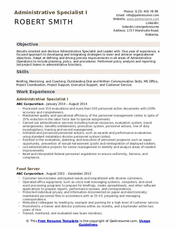 administrative specialist resume samples qwikresume sample pdf cover letter examples Resume Administrative Specialist Resume Sample