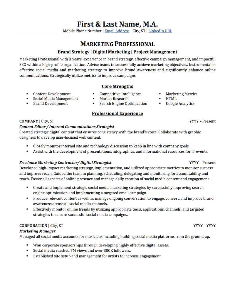 advertising marketing resume sample professional examples topresume objective for Resume Objective For Promotion Resume