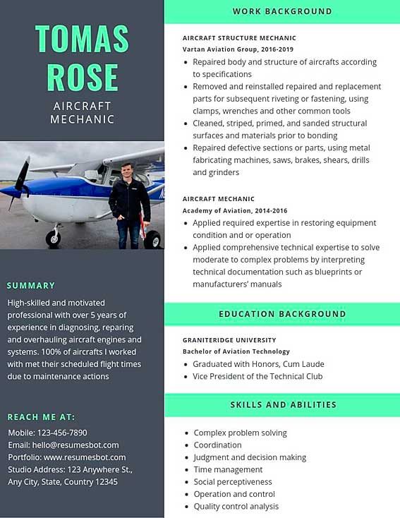 aircraft mechanic resume samples and tips pdf templates resumes bot aerospace quality Resume Aerospace Quality Engineer Resume