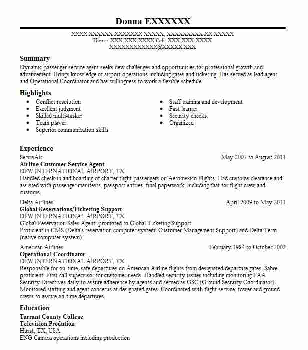 airline customer service agent resume example livecareer entry level examples for Resume Entry Level Airline Customer Service Resume