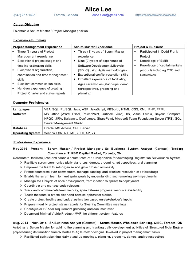 alice resume pm scrum master oct2016 finance linkedin most professional looking Resume Scrum Master Resume Linkedin