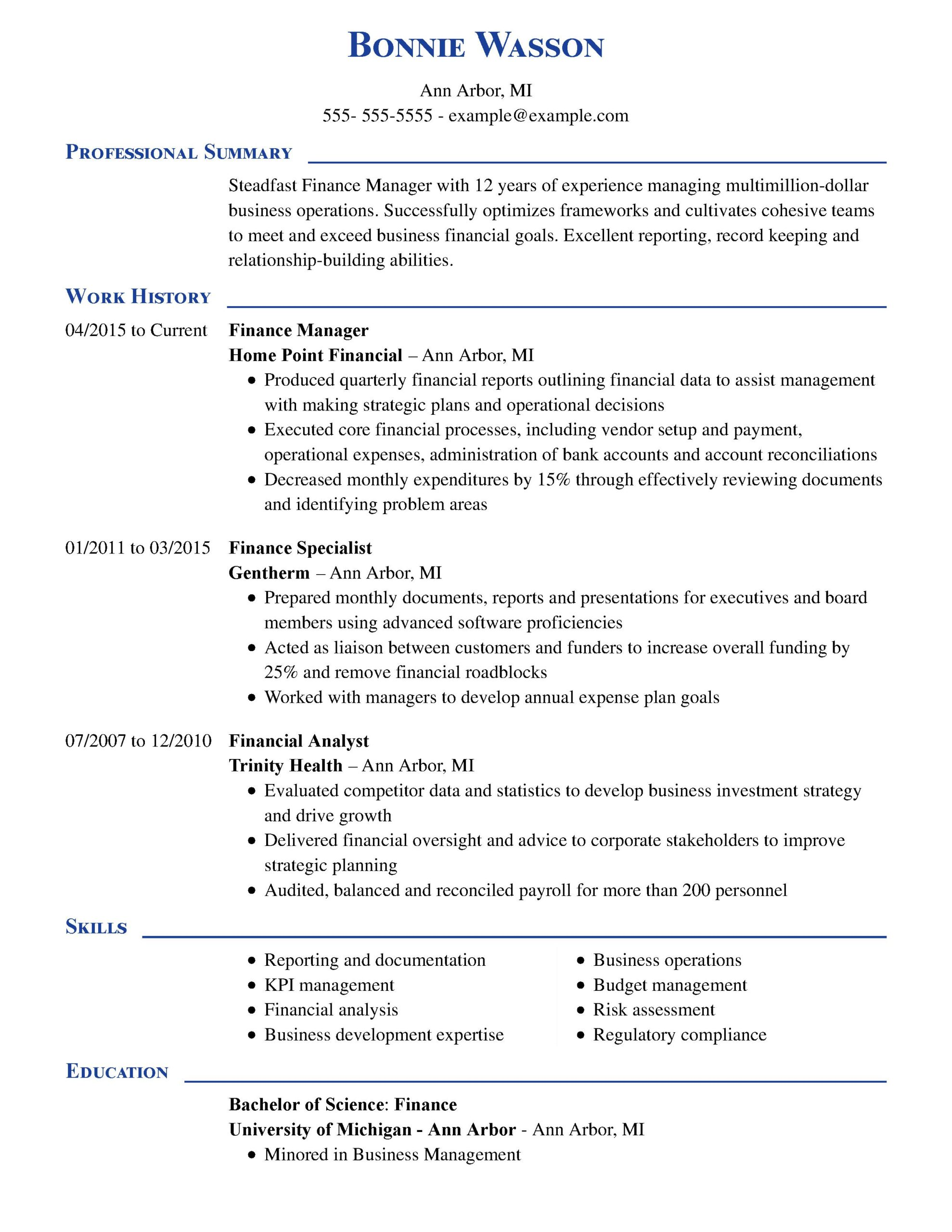 amazing finance resume examples livecareer areas of growth for manager executive chrono Resume Areas Of Growth For Resume