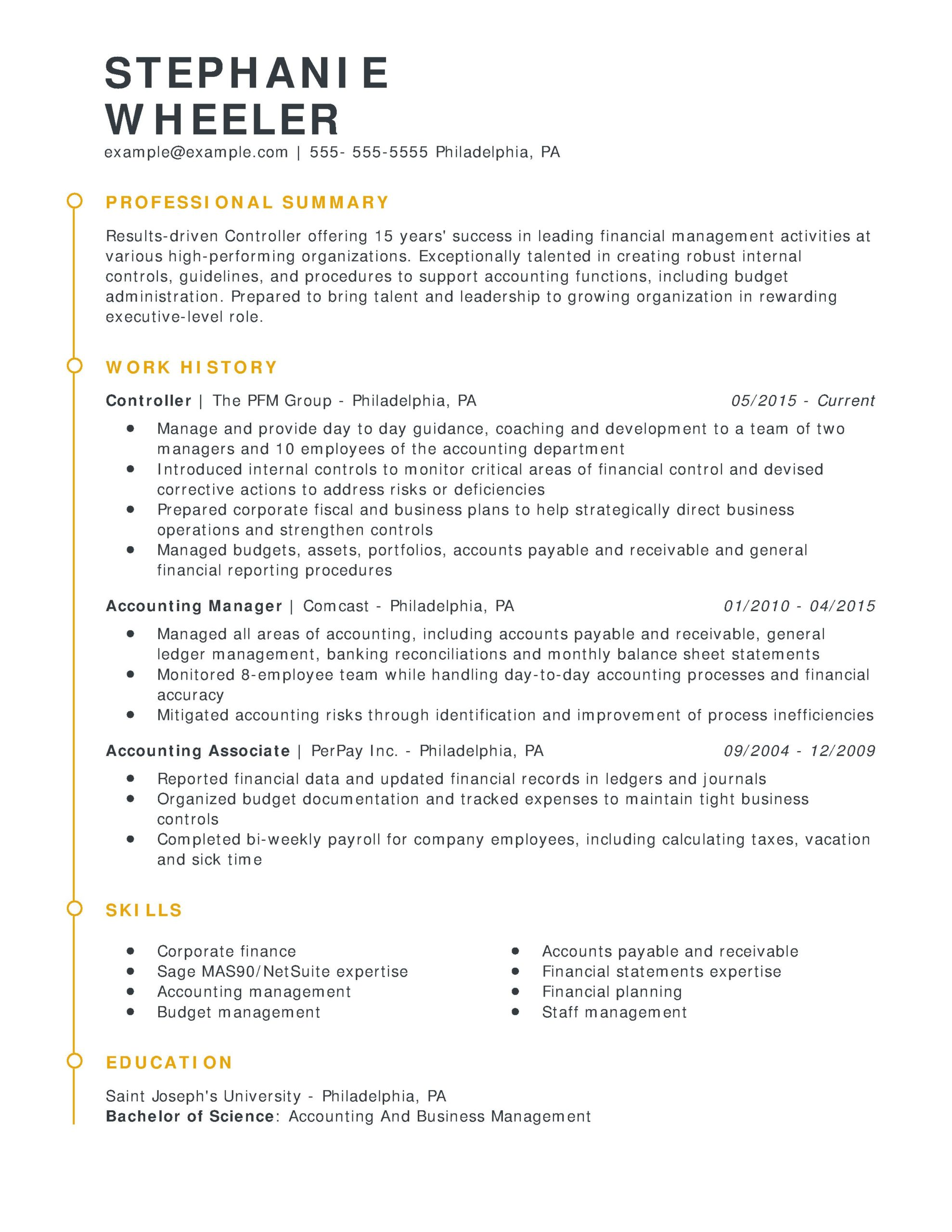 amazing finance resume examples livecareer professional controller esteemed chrono scaled Resume Professional Resume Examples 2020