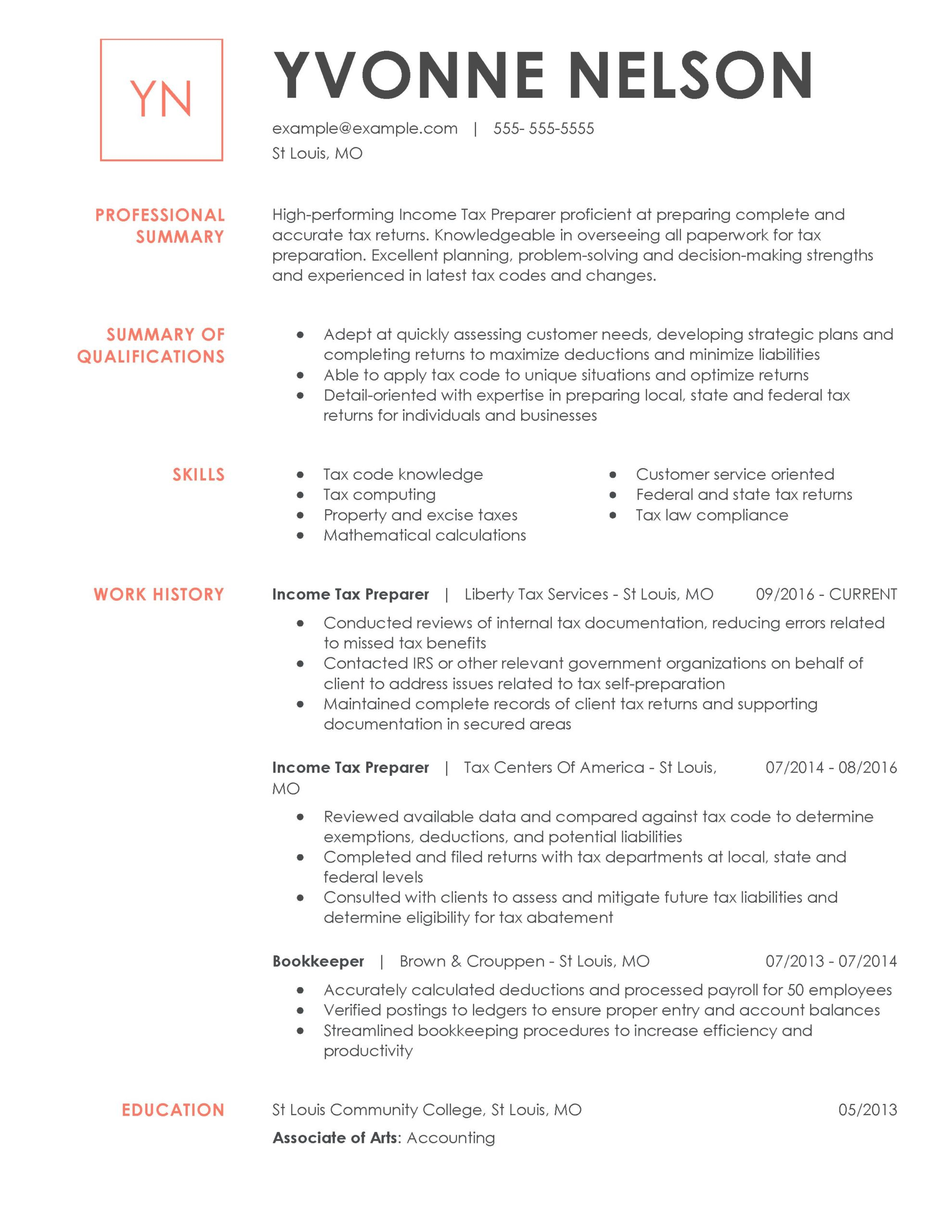amazing finance resume examples livecareer unique strengths for income tax preparer Resume Unique Strengths For Resume
