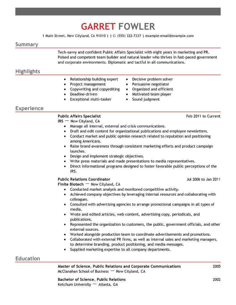 amazing government military resume examples livecareer samples public affairs specialist Resume Military Resume Samples