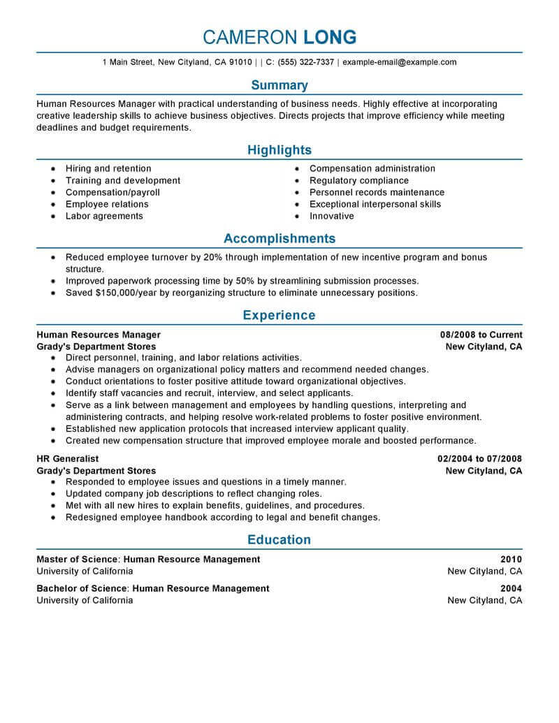 amazing human resources resume examples livecareer template manager professional Resume Human Resources Resume Template