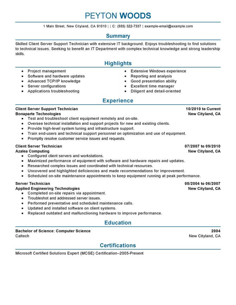 amazing it resume examples livecareer well designed client server technician professional Resume Well Designed Resume Examples