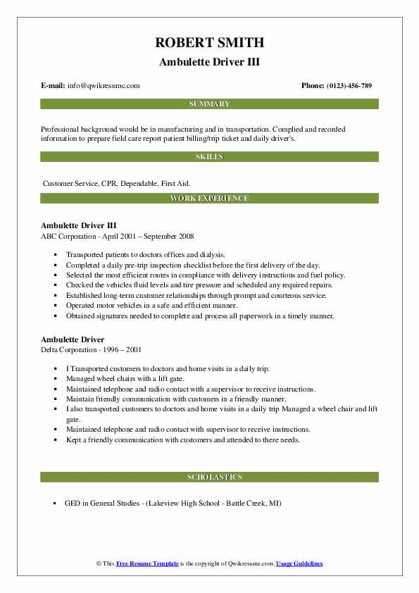 ambulette driver resume samples qwikresume pdf builder for college students restaurant Resume Ambulette Driver Resume