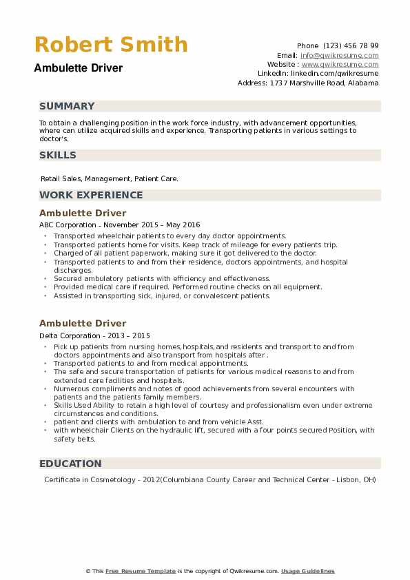 ambulette driver resume samples qwikresume pdf honor student restaurant service writing Resume Ambulette Driver Resume