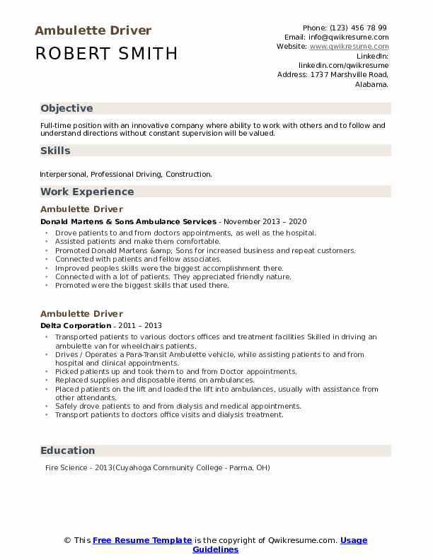 ambulette driver resume samples qwikresume pdf technical team lead sample perfect college Resume Ambulette Driver Resume
