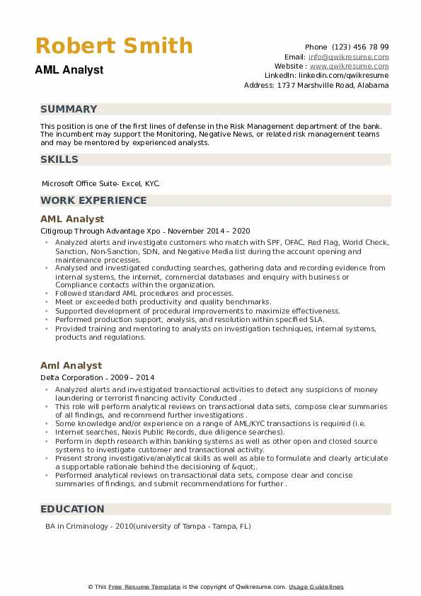 aml analyst resume samples qwikresume kyc example pdf advice retail associate honors and Resume Kyc Analyst Resume Example