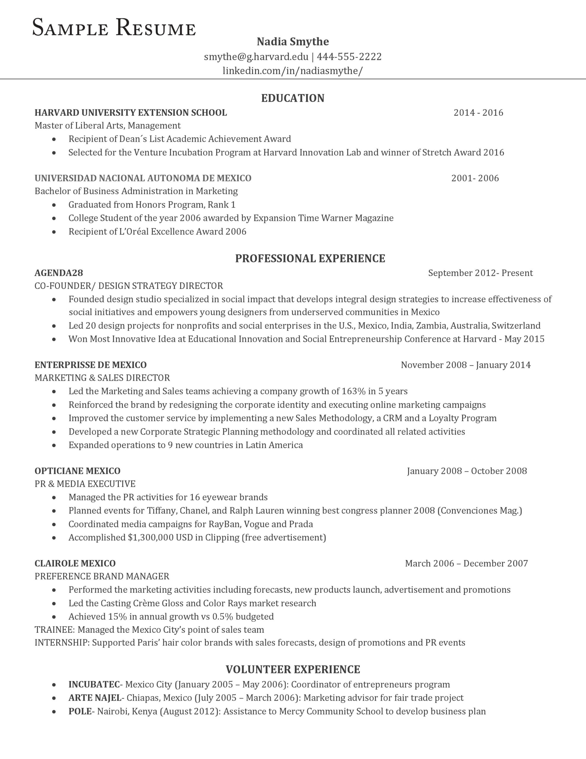 an example of the perfect resume according to harvard career experts professional Resume Professional Experience Resume