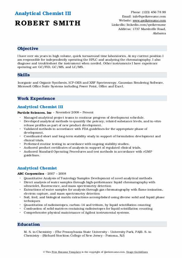 analytical chemist resume samples qwikresume sample pdf same company different positions Resume Analytical Chemist Resume Sample