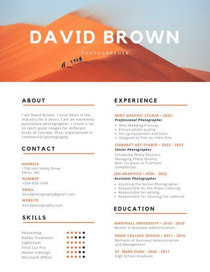 and black modern photography resume photographer infographic template recommended format Resume Photographer Resume Template