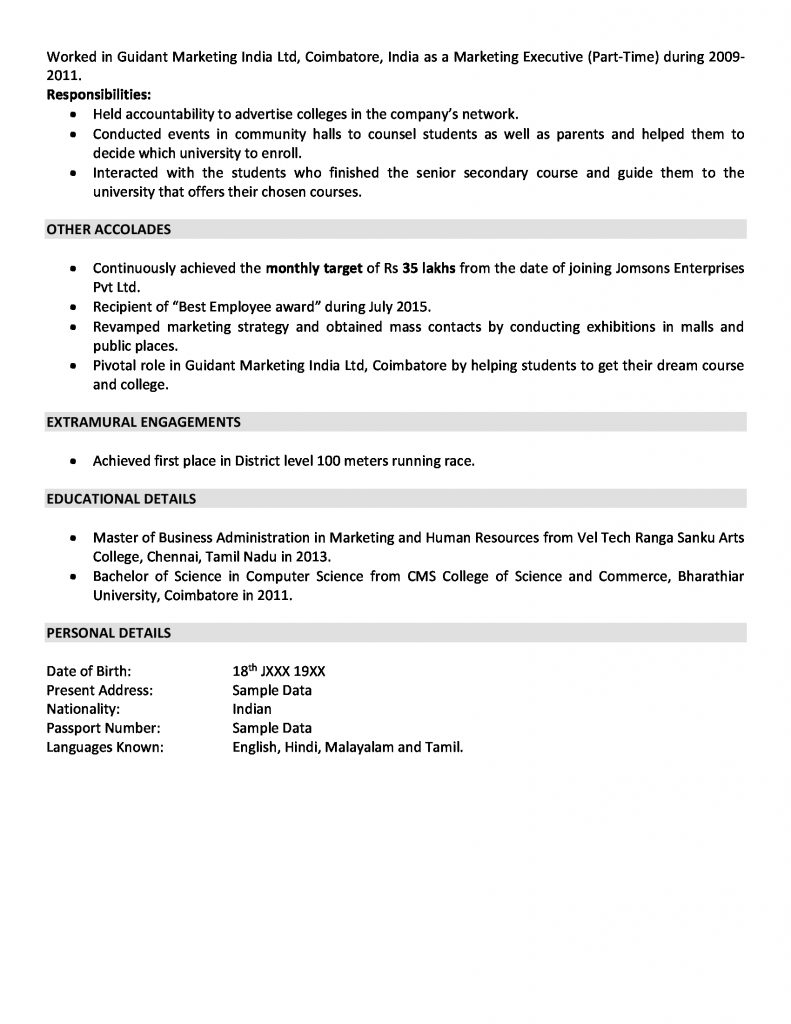 and marketing resume sample for years experience of on 791x1024 business development Resume Years Of Experience On Resume