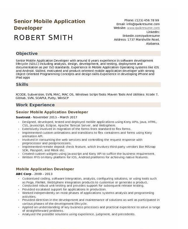 android developer resume tips and templates application example skills for financial Resume Application Developer Resume