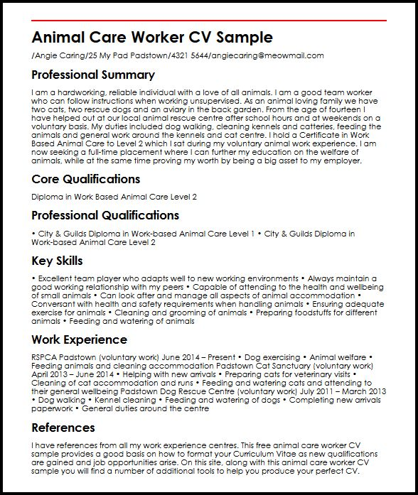 animal care worker cv example myperfectcv personal profile resume examples sample sme job Resume Personal Profile Resume Examples