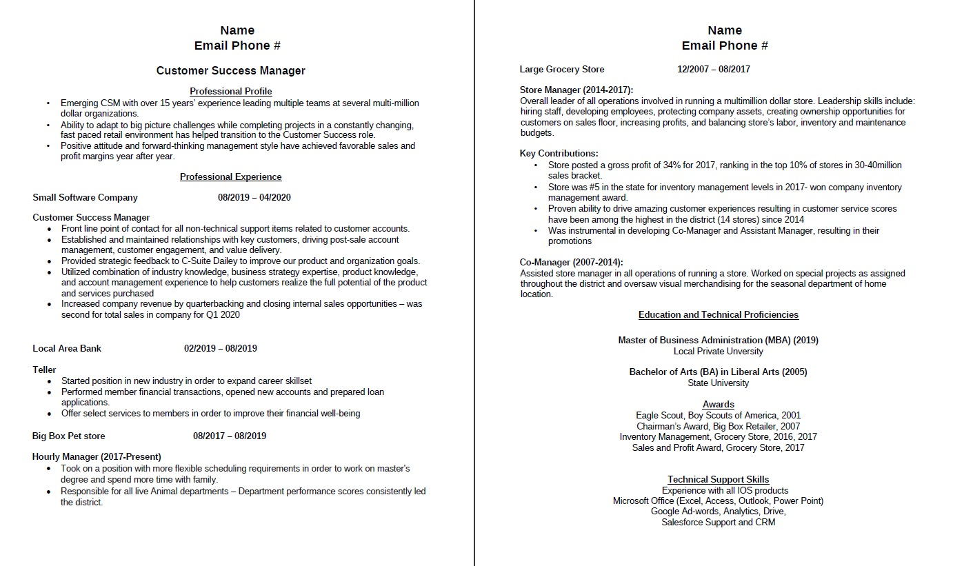 any feedback appreciated laid off months ago applied to companies with no response ideal Resume Customer Success Resume