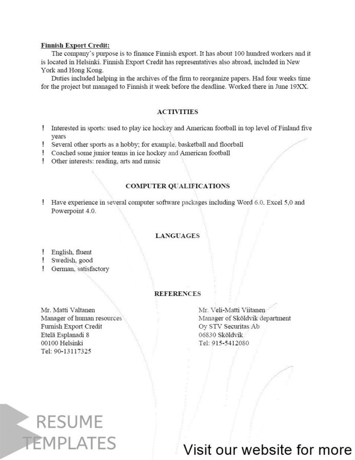 architect resume template cover letter examples professional junior hockey converter Resume Junior Hockey Resume Template