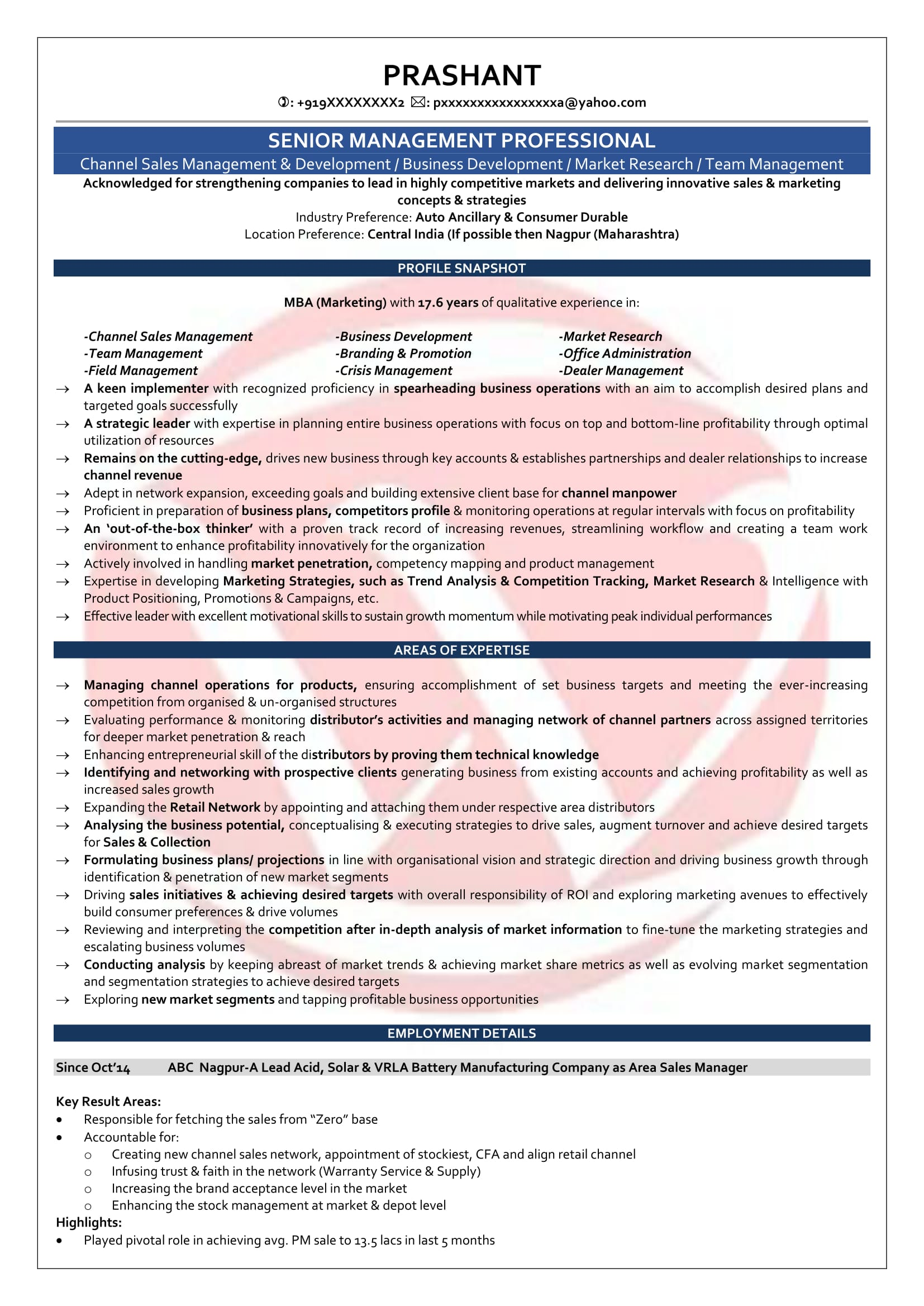 area manager sample resumes resume format templates for years experience lawn service Resume Sample Resume For 13 Years Experience