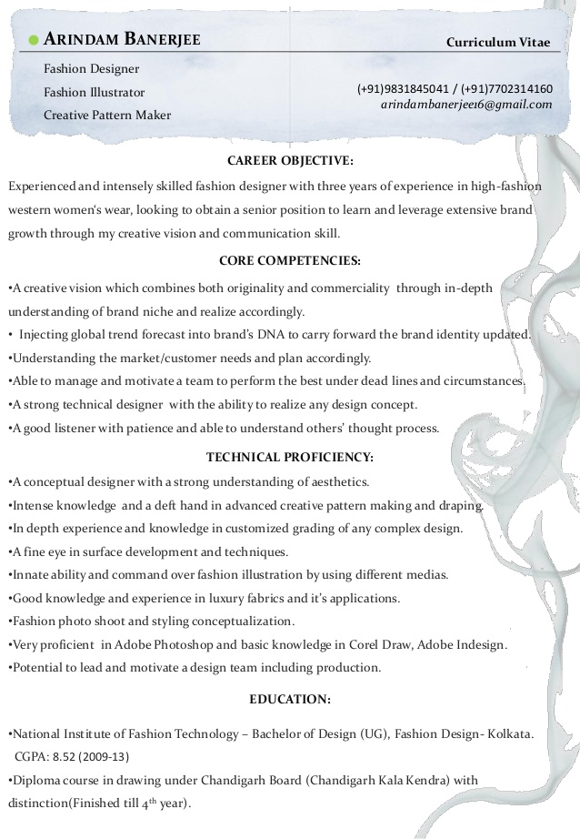 arindam banerjee resume fashion designer objective for resumefashion format civil Resume Objective For Fashion Designer Resume