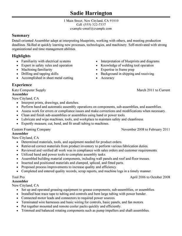 assembler resume examples free to try today myperfectresume for assembly worker warehouse Resume Resume Examples For Assembly Worker