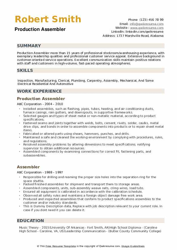assembler resume samples qwikresume examples for assembly worker pdf office operations Resume Resume Examples For Assembly Worker