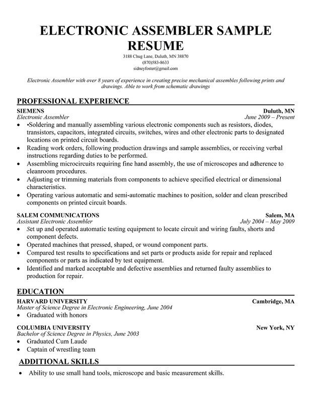 assembly line production resume examples for worker electronic assembler sample resume1 Resume Resume Examples For Assembly Worker