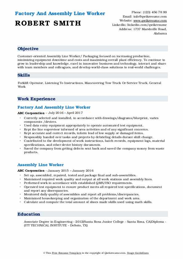 assembly line worker resume samples qwikresume examples for pdf event planning Resume Resume Examples For Assembly Worker