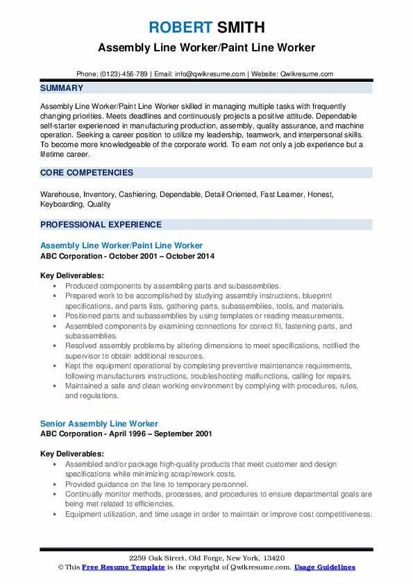 assembly worker resume line job description examples for functional template writing Resume Resume Examples For Assembly Worker