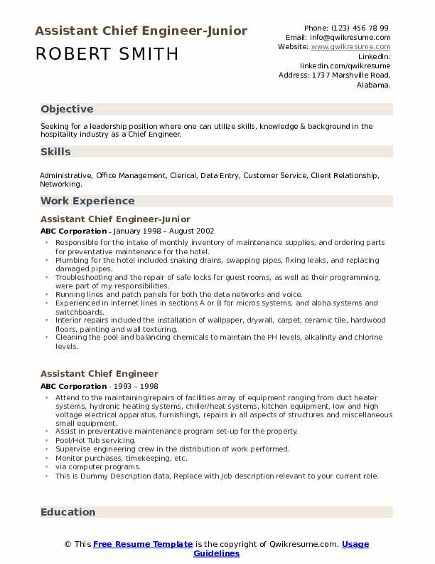 assistant chief engineer resume samples qwikresume marine sample pdf objective general Resume Marine Chief Engineer Resume Sample