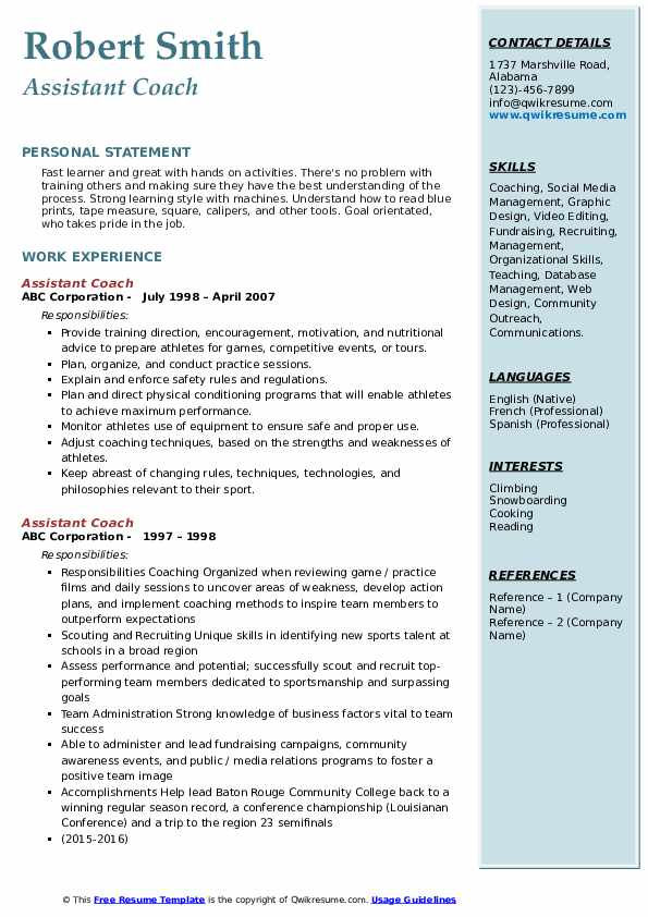 assistant coach resume samples qwikresume sample pdf cliche book builder for windows need Resume Assistant Coach Resume Sample
