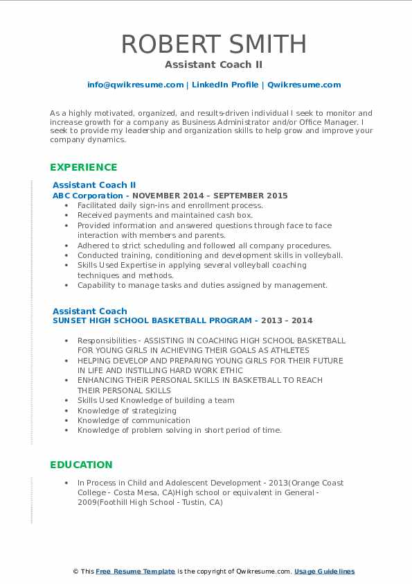assistant coach resume samples qwikresume sample pdf listing employment on good format Resume Assistant Coach Resume Sample