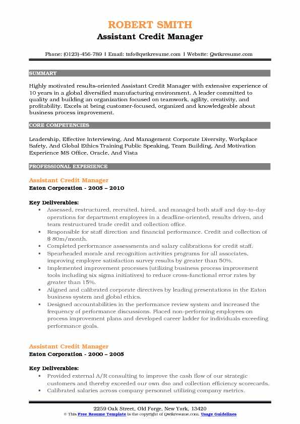 assistant credit manager resume samples qwikresume format pdf skills and accomplishments Resume Credit Manager Resume Format