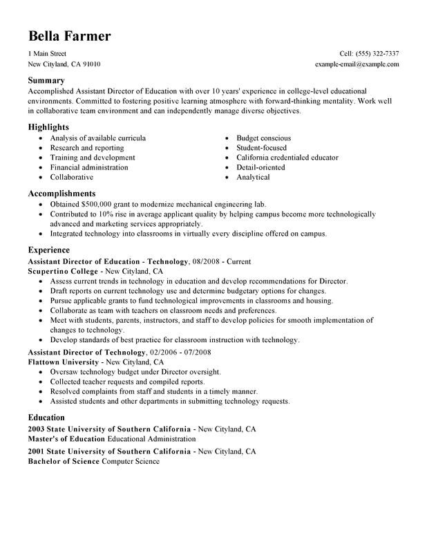 assistant education director resume examples created by pros myperfectresume Resume Resume Examples Education Administration