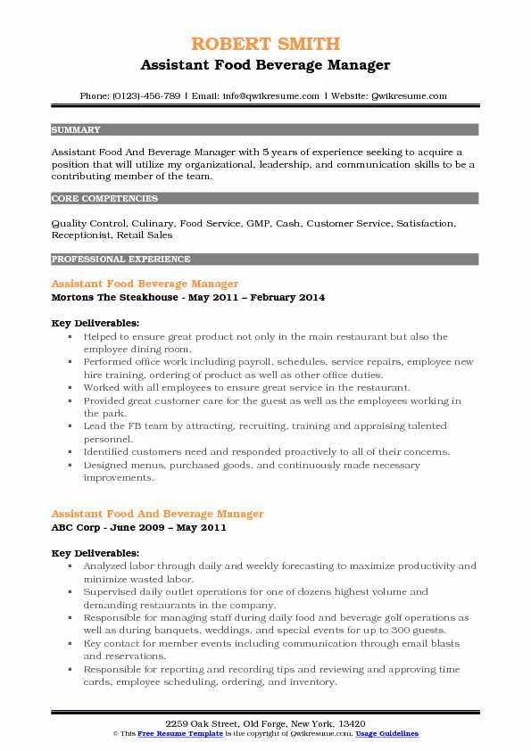 assistant food and beverage manager resume samples qwikresume pdf construction trade Resume Beverage Manager Resume