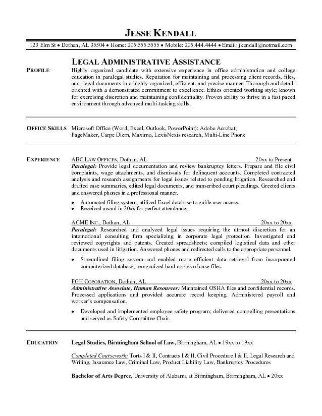 assistant paralegal resume sample resumesdesign examples professional template office Resume Paralegal Resume Template