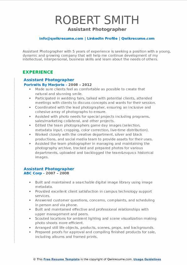 assistant photographer resume samples qwikresume pdf commercial electrician senior Resume Photographer Assistant Resume