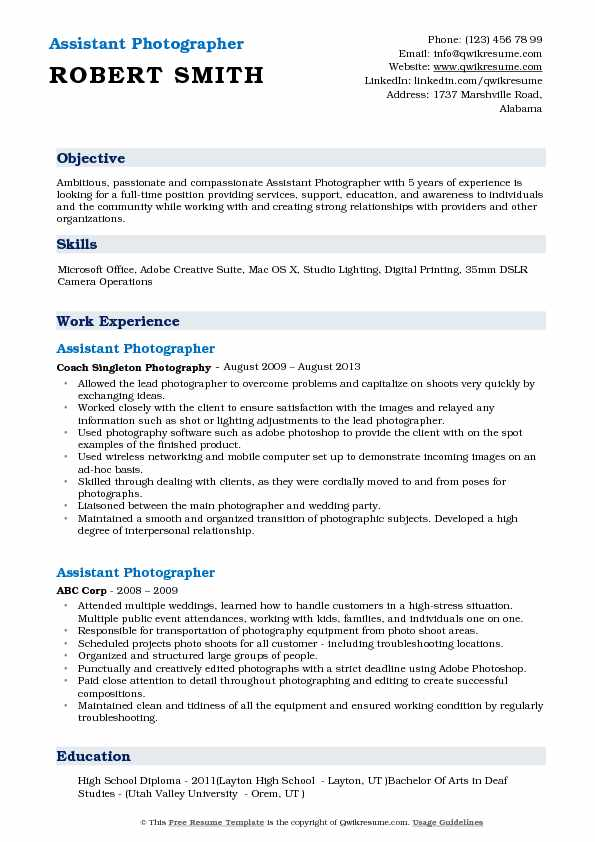 assistant photographer resume samples qwikresume pdf health education outline examples Resume Photographer Assistant Resume