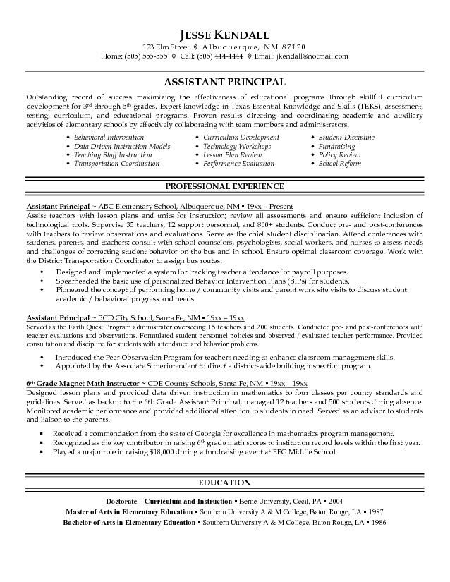 assistant principal resume sample free example education teacher examples professional Resume Sample Principal Resume