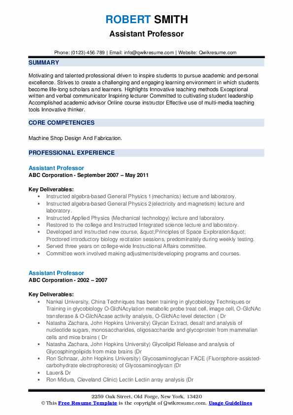 assistant professor resume samples qwikresume template for pdf word document templates Resume Resume Template For Professor