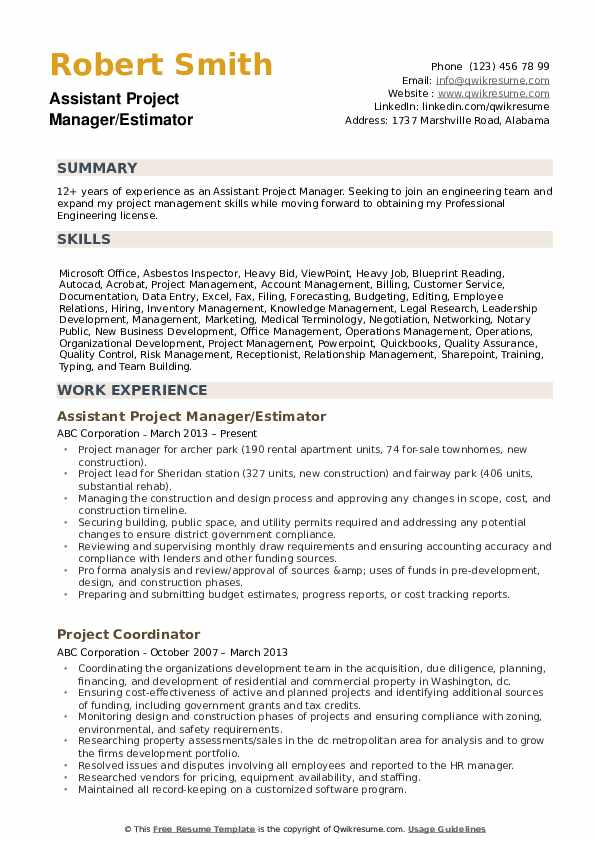 assistant project manager resume samples qwikresume entry level construction examples pdf Resume Entry Level Construction Resume Examples