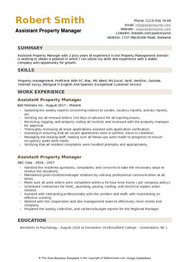 assistant property manager resume samples qwikresume entry level management pdf Resume Entry Level Property Management Resume