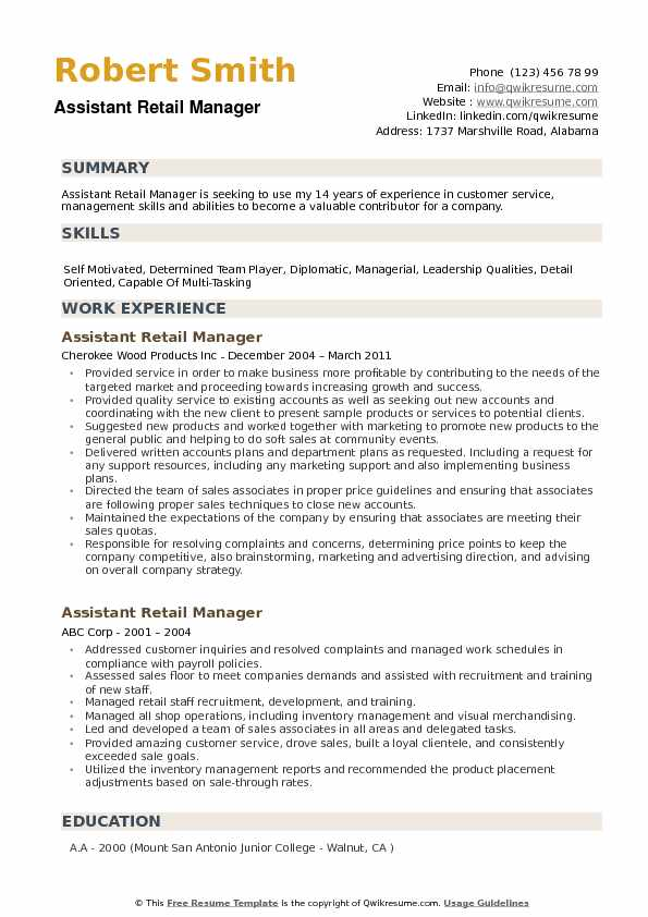 assistant retail manager resume samples qwikresume objective pdf en español word new Resume Resume Objective Retail Manager