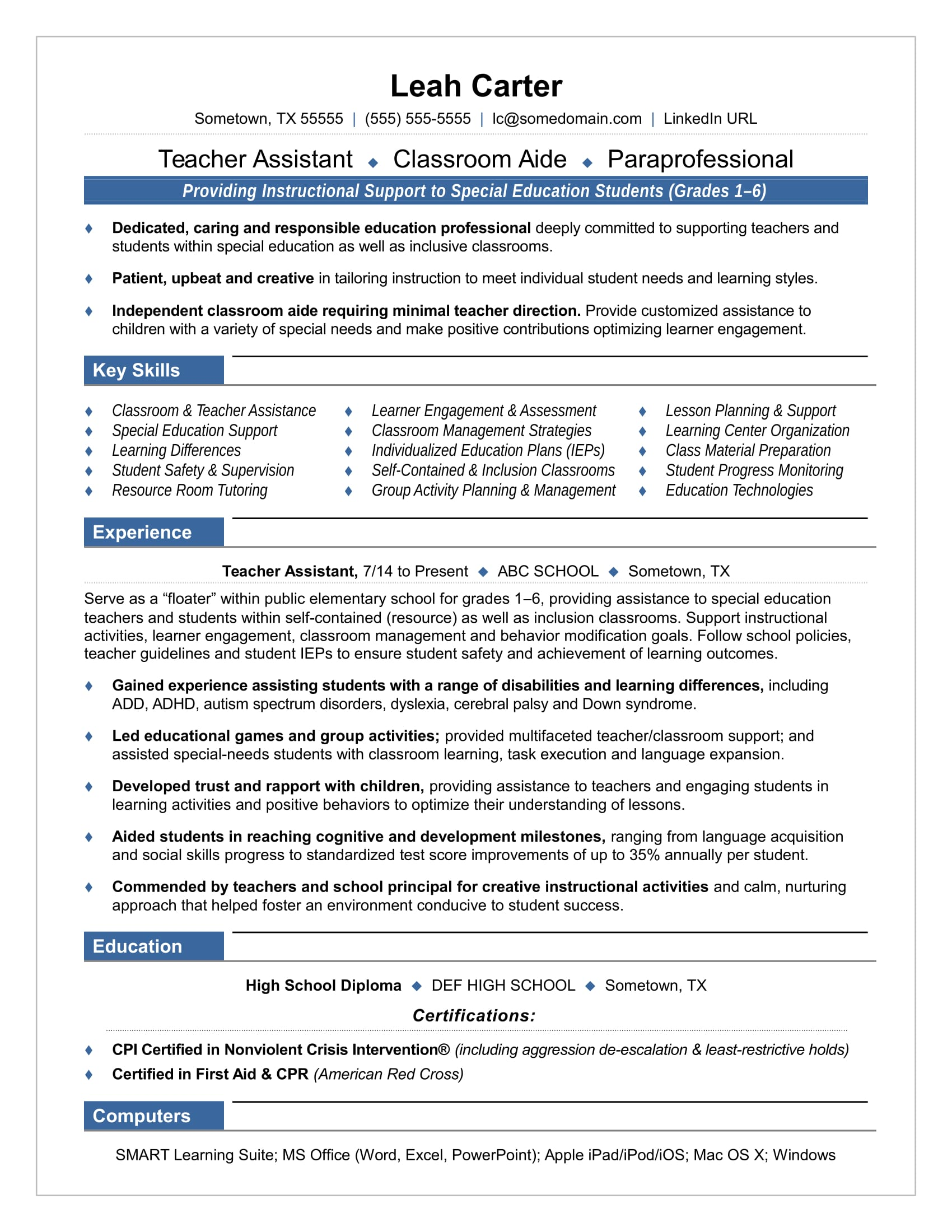 assistant teacher resume samples format special education paraprofessional with best Resume Special Education Paraprofessional Resume