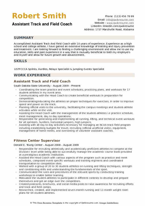 assistant track and field coach resume samples qwikresume sample pdf opening statement Resume Assistant Coach Resume Sample